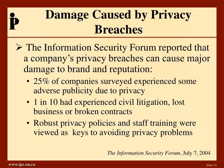 Damage Caused by Privacy Breaches