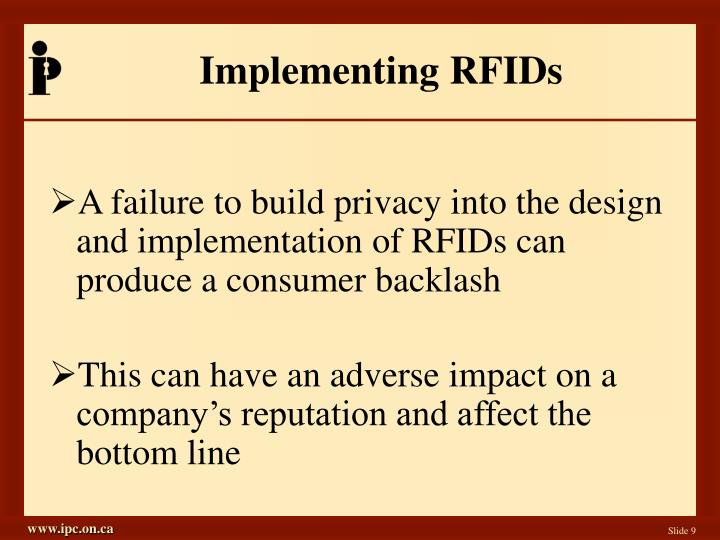 Implementing RFIDs