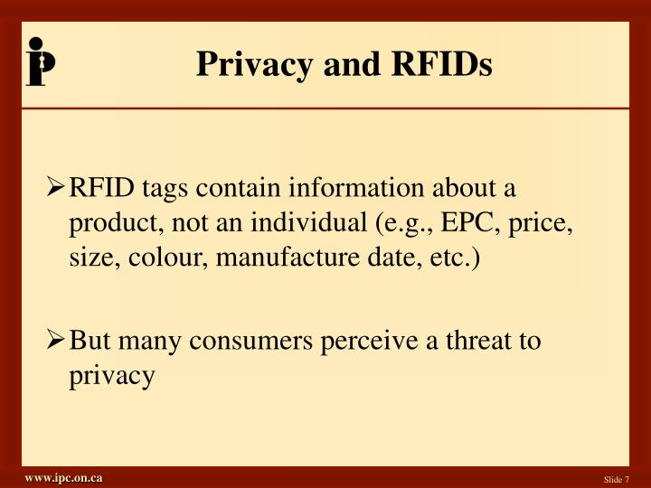 Privacy and RFIDs