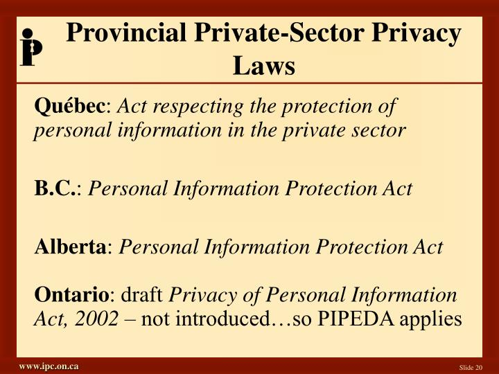 Provincial Private-Sector Privacy Laws