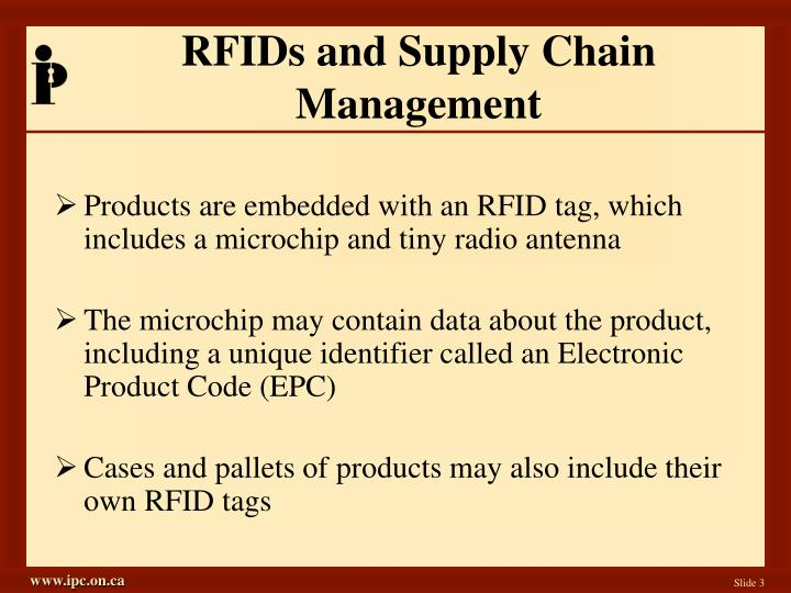 Rfids and supply chain management