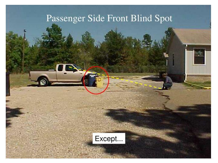 Passenger Side Front Blind Spot