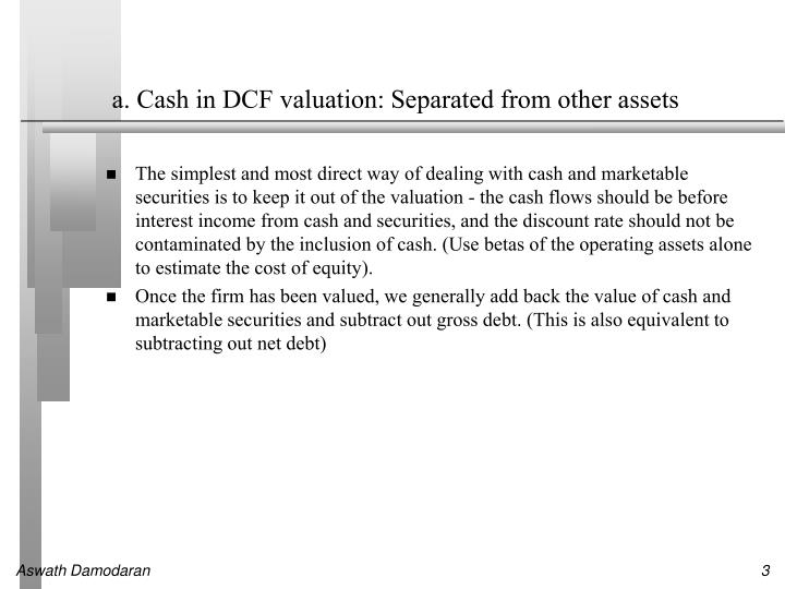 A cash in dcf valuation separated from other assets