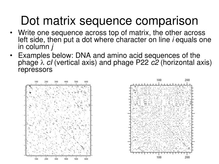 Dot matrix sequence comparison