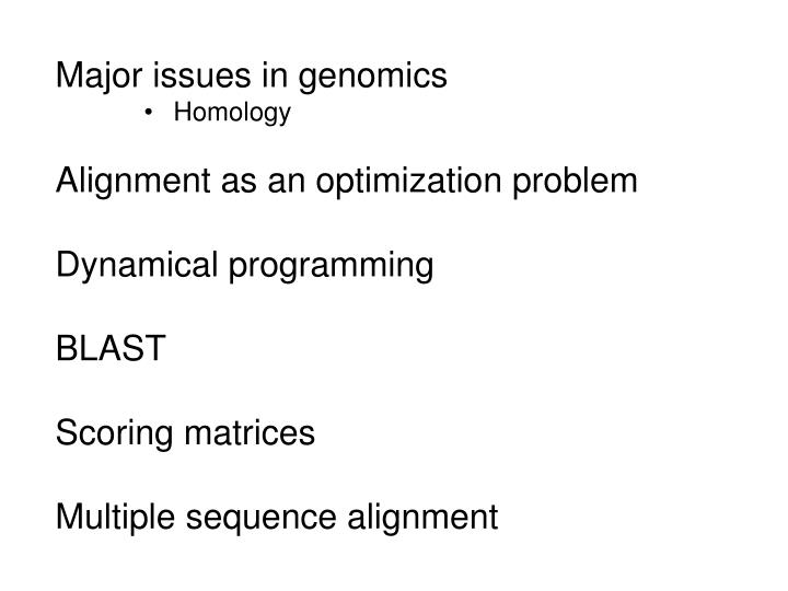 Major issues in genomics