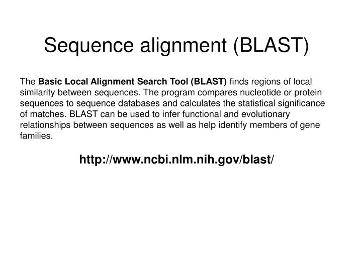 Sequence alignment (BLAST)