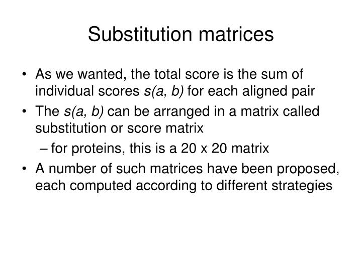 Substitution matrices
