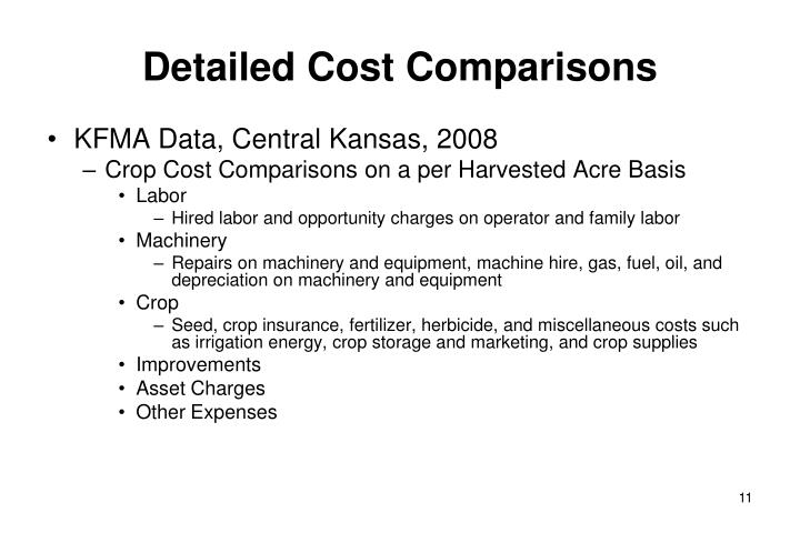 Detailed Cost Comparisons