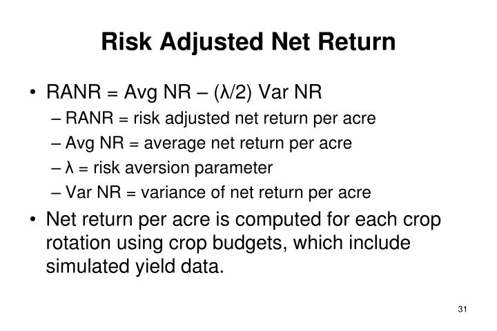 Risk Adjusted Net Return