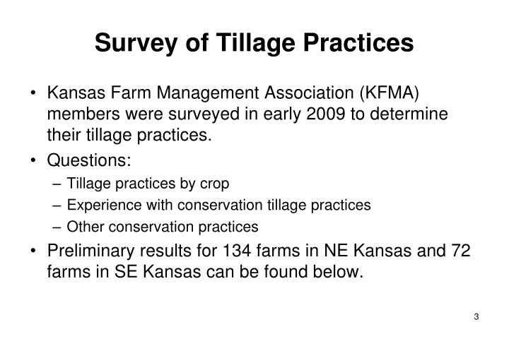 Survey of tillage practices