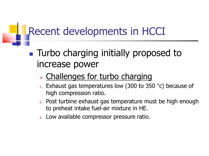 Recent developments in HCCI
