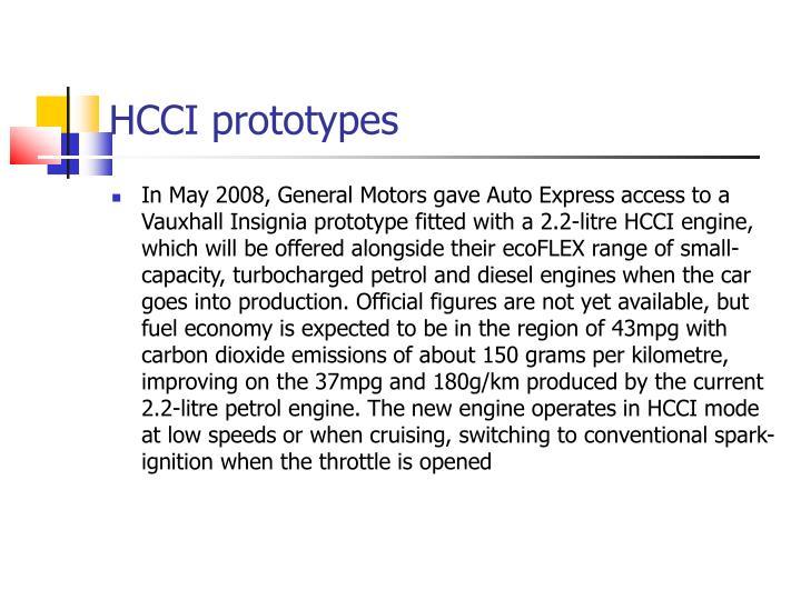 HCCI prototypes
