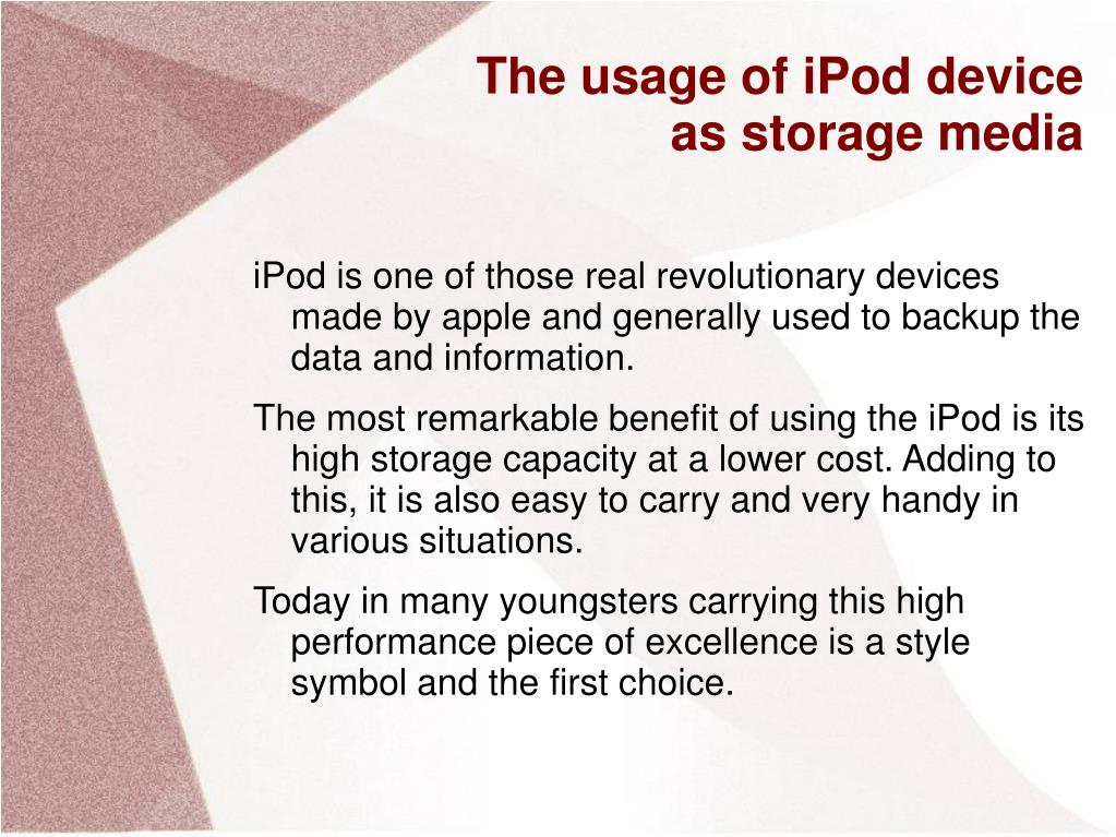The usage of iPod device as storage media