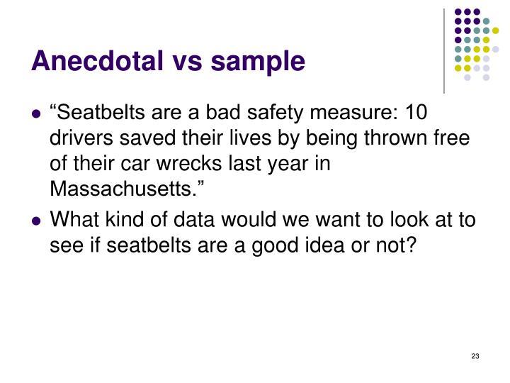 Anecdotal vs sample