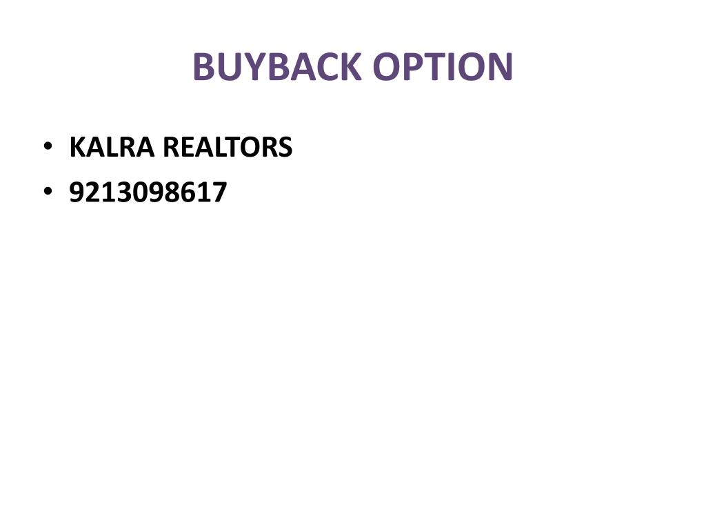 BUYBACK OPTION