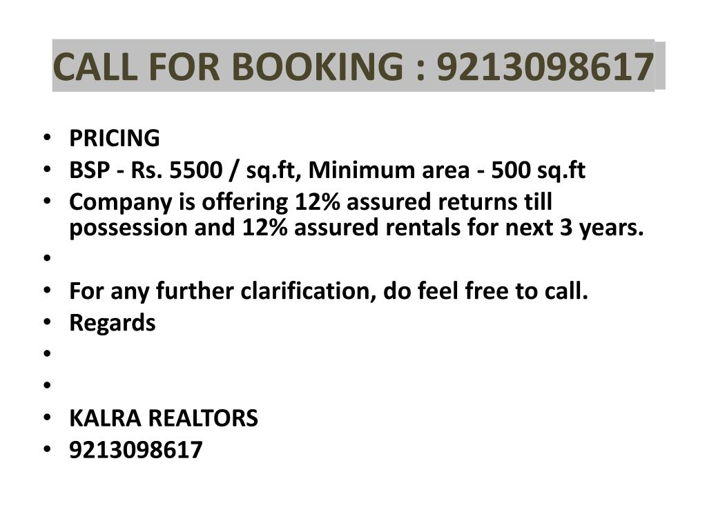 CALL FOR BOOKING : 9213098617