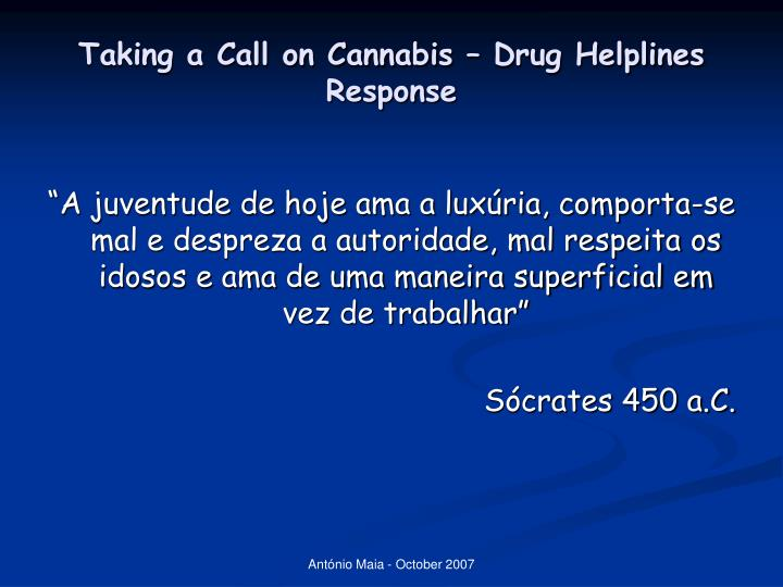 Taking a call on cannabis drug helplines response2