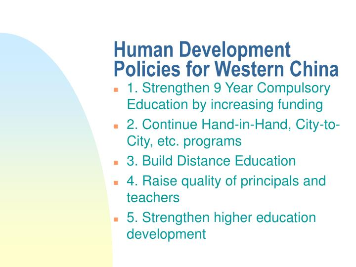 Human Development Policies for Western China