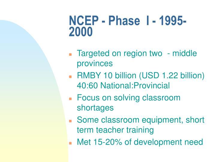 NCEP - Phase  I - 1995-2000