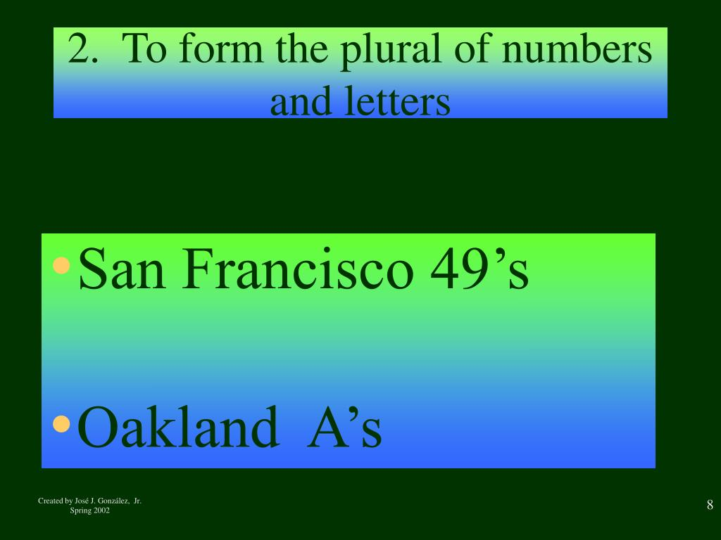 2.  To form the plural of numbers and letters