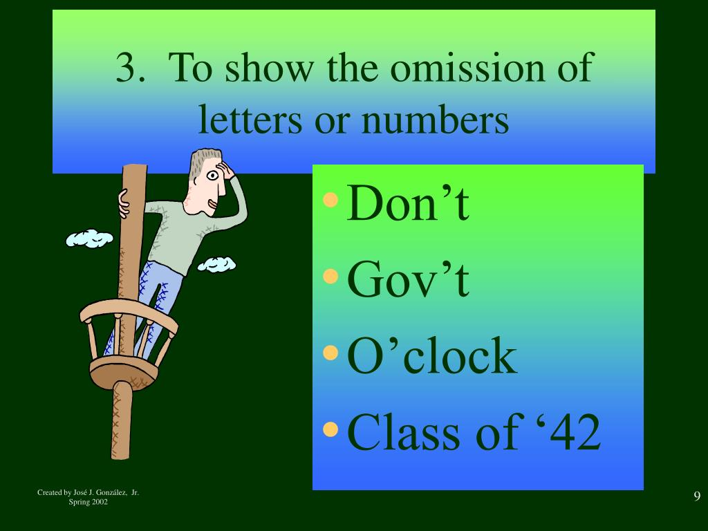 3.  To show the omission of letters or numbers
