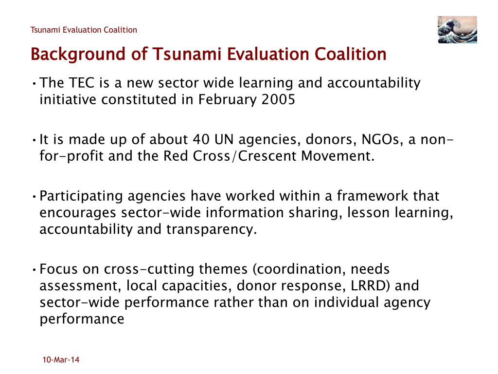Background of Tsunami Evaluation Coalition