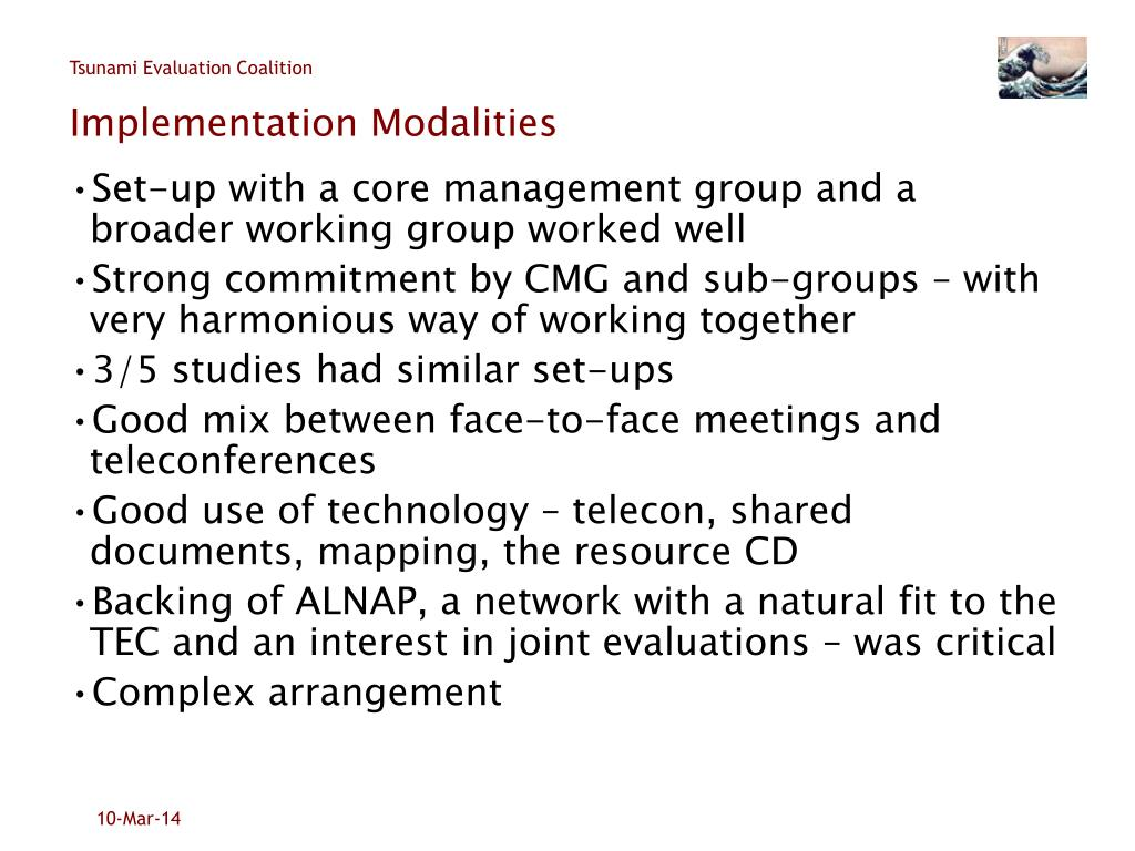 Implementation Modalities