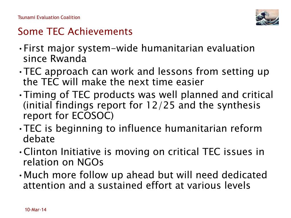Some TEC Achievements
