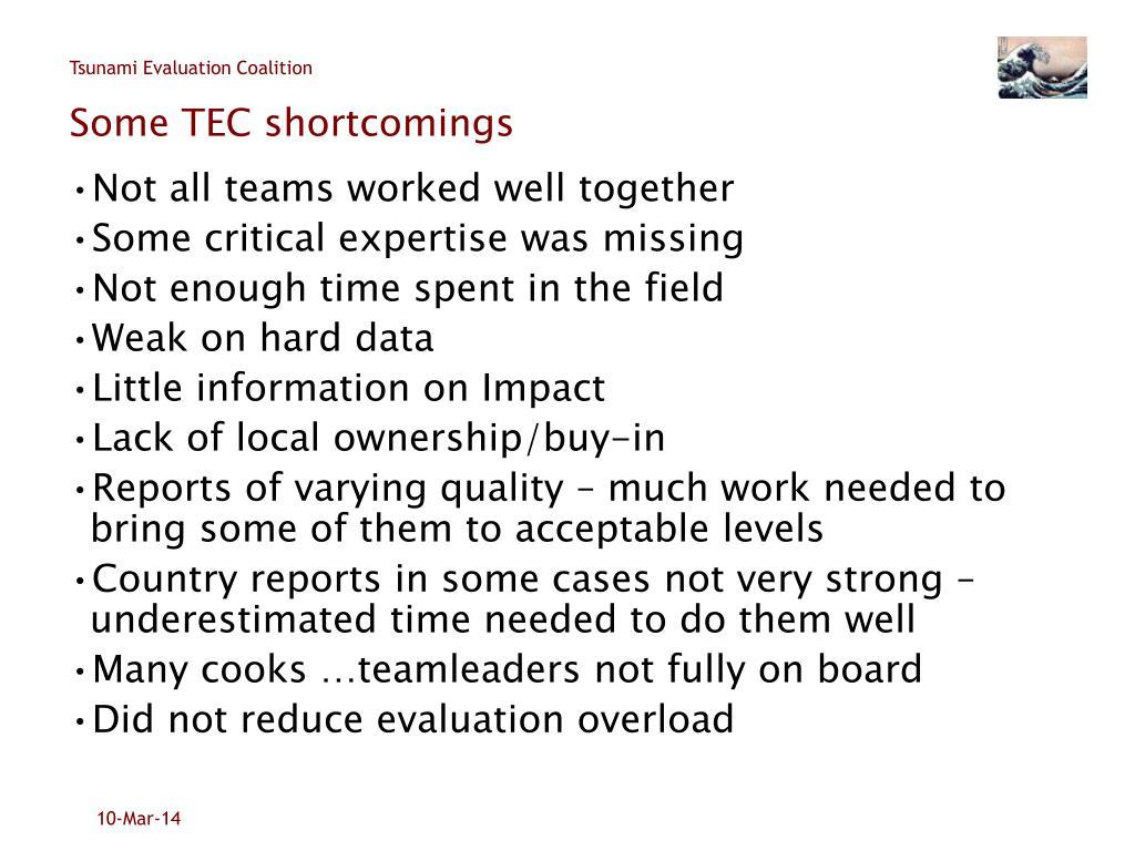 Some TEC shortcomings