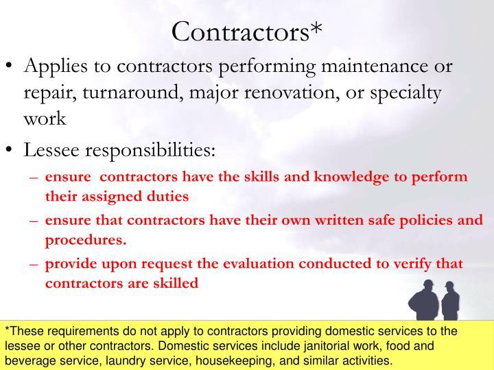 Contractors*