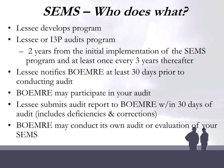 SEMS – Who does what?