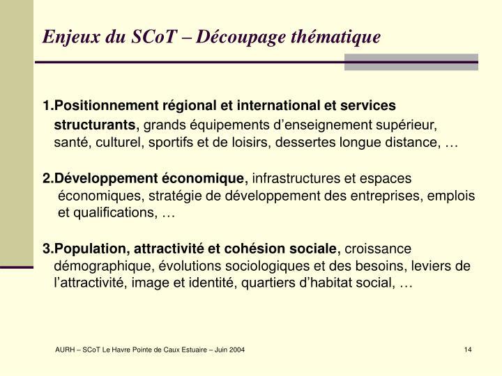 Enjeux du SCoT – Découpage thématique