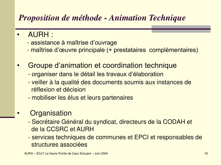 Proposition de méthode - Animation Technique