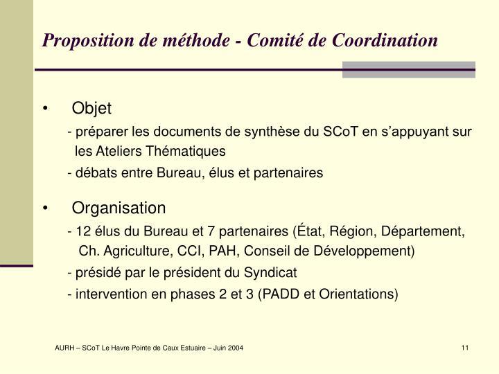 Proposition de méthode - Comité de Coordination