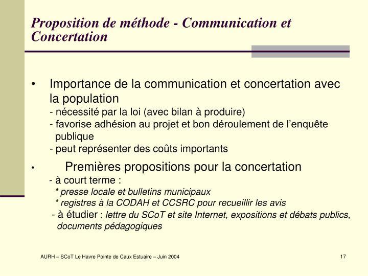 Proposition de méthode - Communication et Concertation