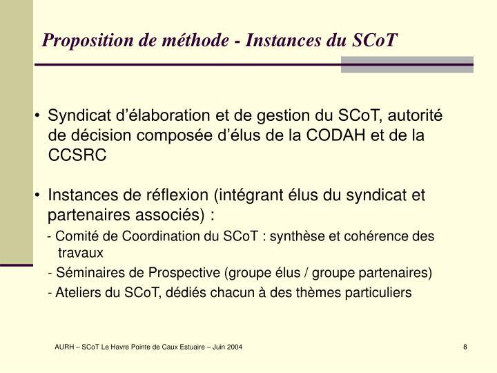 Proposition de méthode - Instances du SCoT