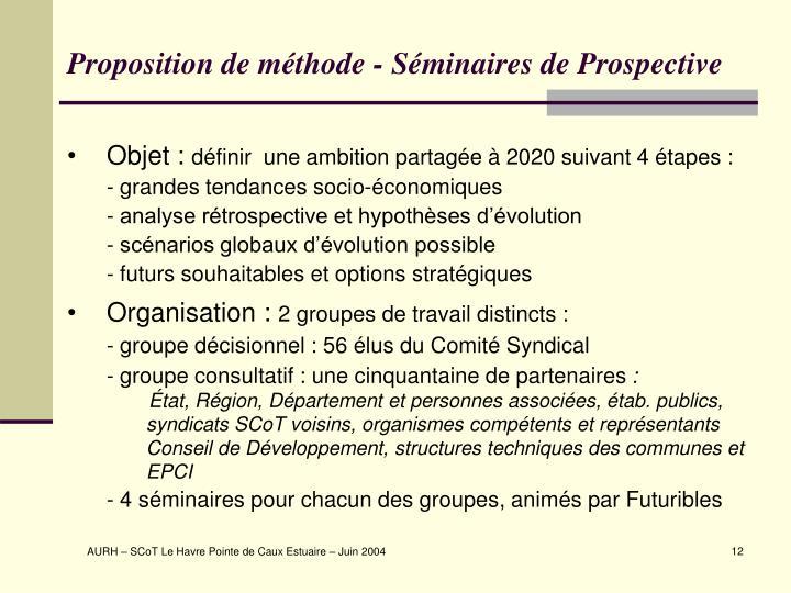 Proposition de méthode - Séminaires de Prospective