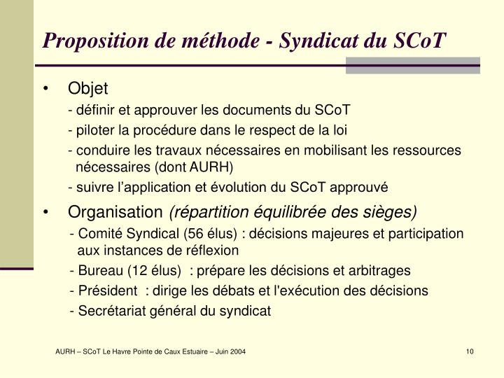 Proposition de méthode - Syndicat du SCoT