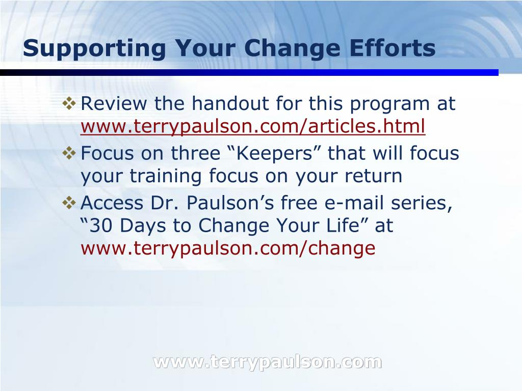 Supporting Your Change Efforts