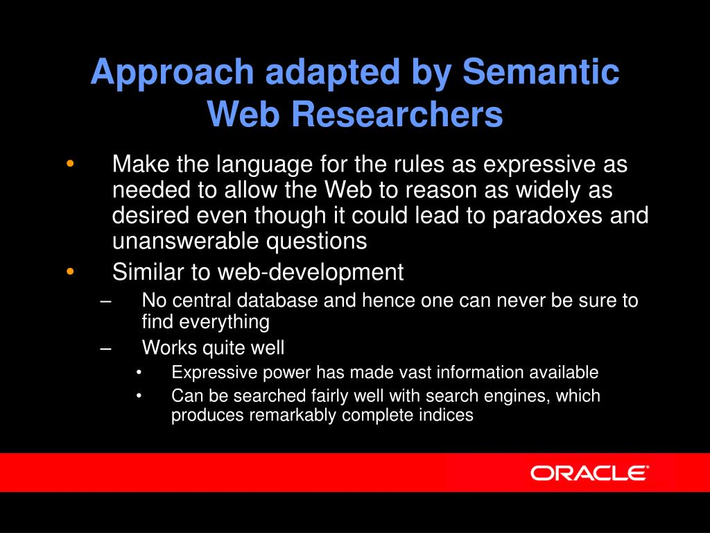 Approach adapted by Semantic Web Researchers