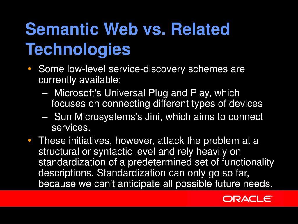 Semantic Web vs. Related Technologies