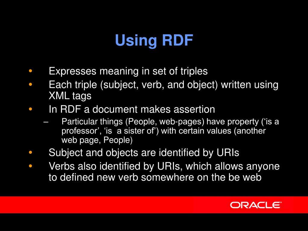 Using RDF