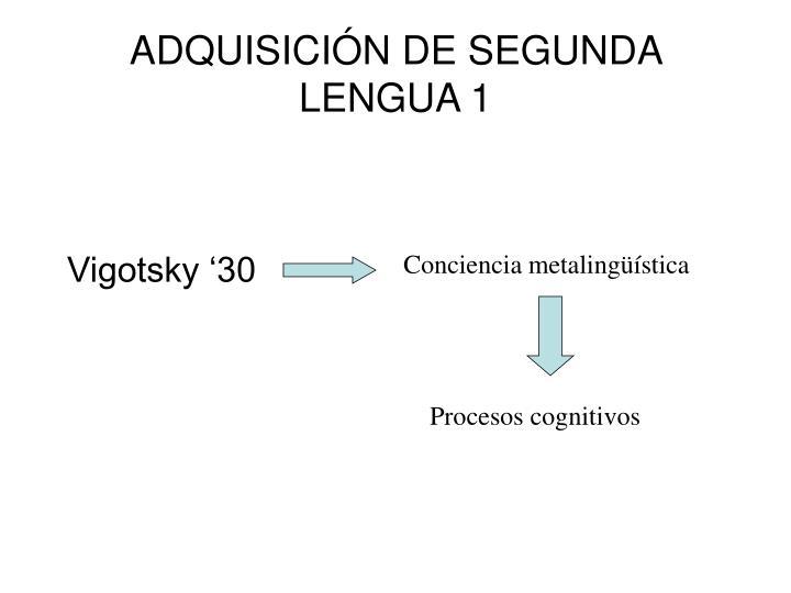 ADQUISICIÓN DE SEGUNDA LENGUA 1