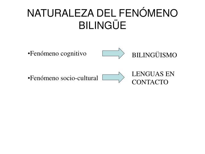 NATURALEZA DEL FENÓMENO BILINGÜE