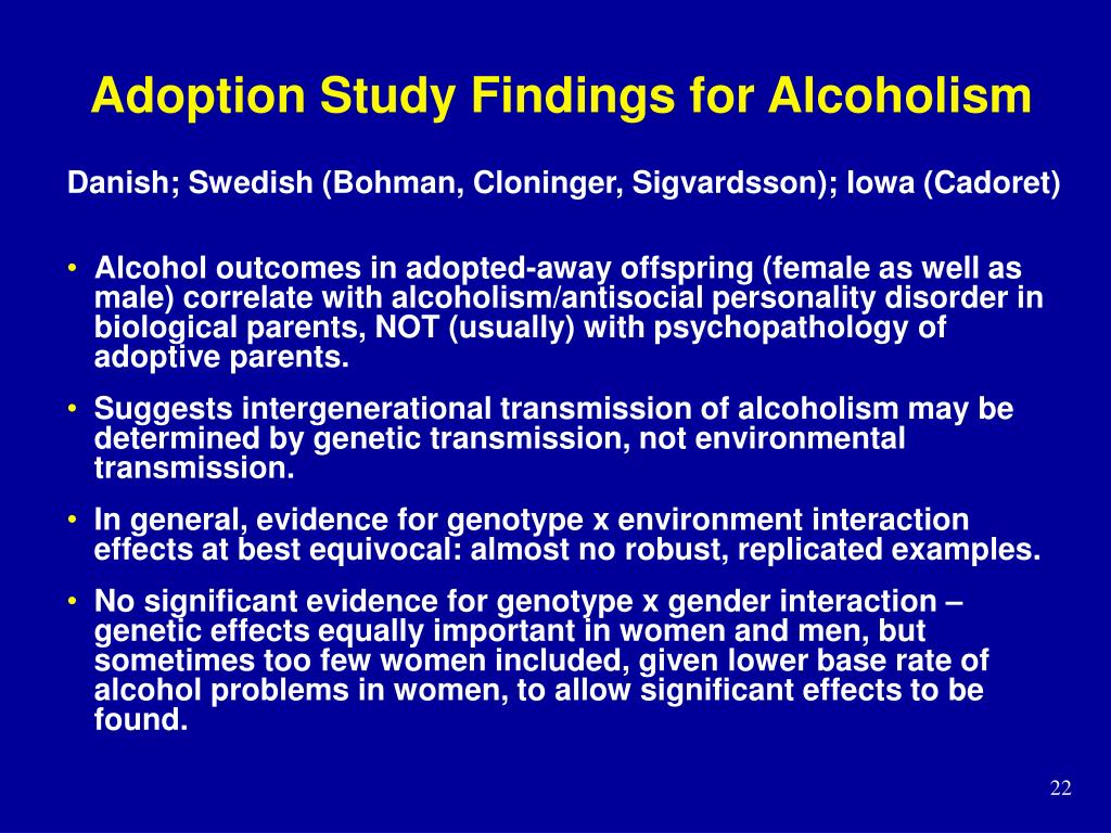 Adoption Study Findings for Alcoholism