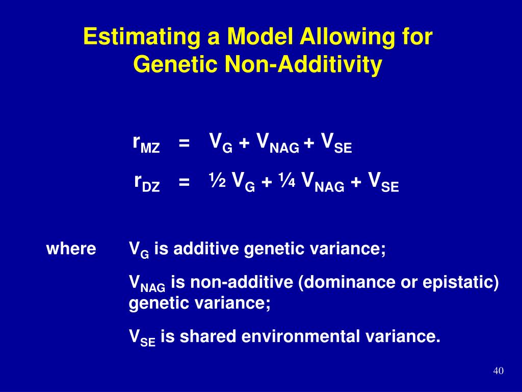 Estimating a Model Allowing for Genetic Non-Additivity