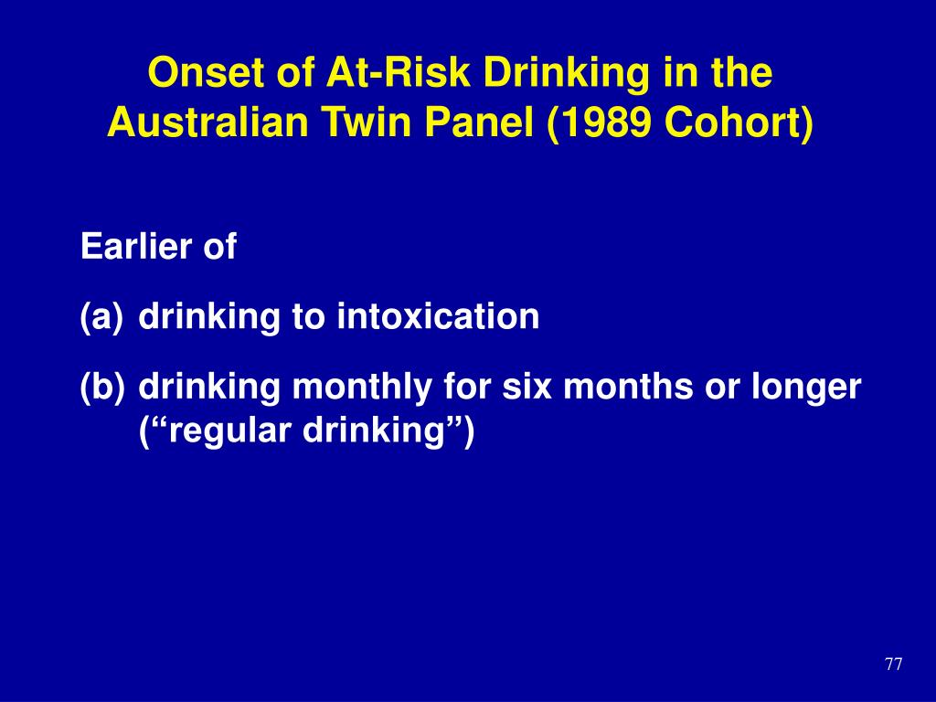 Onset of At-Risk Drinking in the Australian Twin Panel (1989 Cohort)