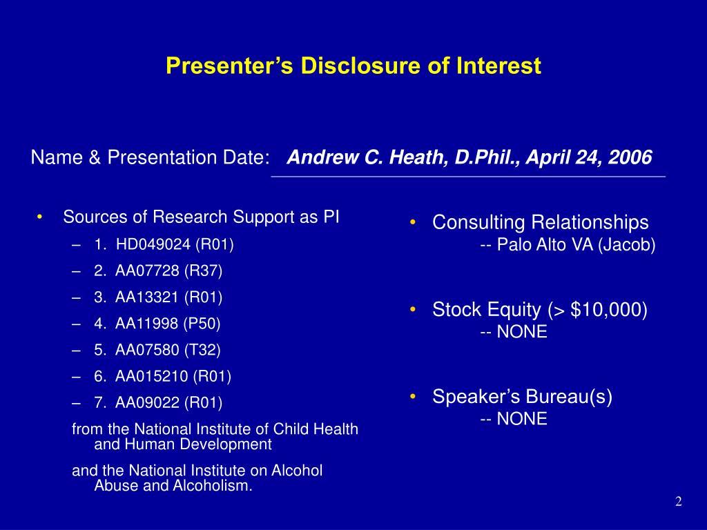 Presenter's Disclosure of Interest
