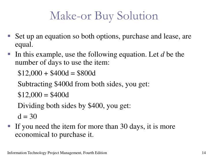 Make-or Buy Solution