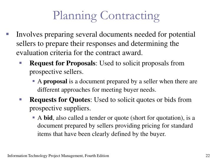 Planning Contracting